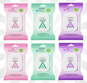 6 Almay Biodegradable Makeup Remover Towelette Wipes Mixed Set 25ct Each