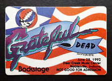 Grateful Dead Backstage Pass USA Stars Stripes Flag Deer Creek Indiana 6/28/1992