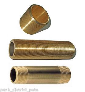 "Brass Nipple - running, long running, long barrel - choose one 1.1/4"" to 2""BSP"