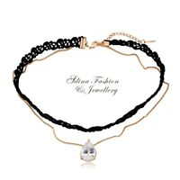 18K Gold Plated Cubic Zirconia Popular Black Lace Teardrop Choker Necklace