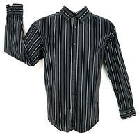 Axcess Dress Shirt Mens Size L Black White Blue Striped 100% Cotton Long Sleeve