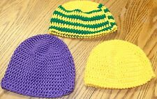 3 HAND KNITTED TODDLER GIRLS WINTER BEANIE HATS ALL DIFFERENT BRAND NEW