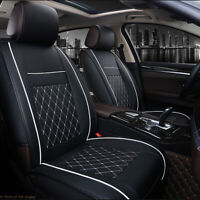 Universal Front Car Seat Covers Cushion Breathable PU Leather Pad Black white UK
