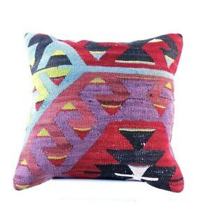 Kilim Pillow Cover 16x16 Handmade Oushak Rug Traditional Ottoman Cushion 1790