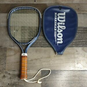 Vintage Wilson Marksman Racquet Racket CO85 3 7/8 with Zipper Cover Taiwan