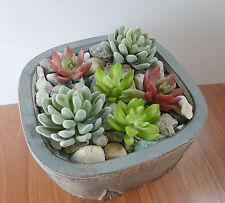 Set of 6 Artificial Green Snowball And Mini Lotus Yacon Plants