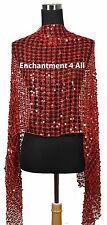 Sassy Oblong Crochet Net Stage Scarf Wrap Costume w/ Dazzling Sequins, Red