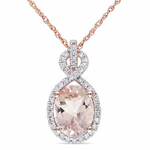 Amour 10k Rose Gold Morganite and Diamond Necklace