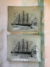 Pair Of Vintage Cutty Sark Glass Tray Dishes
