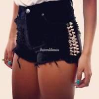 Summer Women Sexy Rivet Jeans High Waist Denim Shorts Hot Pants Hotpants SH