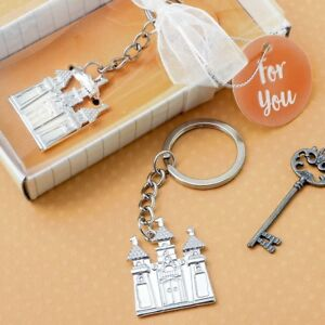 50 Silver Metal Castle Key Chain Wedding Bridal Shower Party Gift Favors