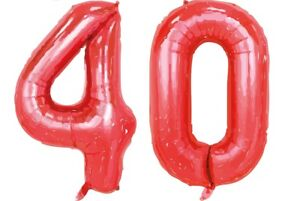 """Giant 40th Birthday Party 40"""" Foil Balloon Helium Air Decoration Age 40 Ruby Red"""