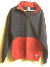 Russell men's fleece pullover L zip lapel red blue
