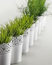 IKEA SKURAR  plant pot steel white floral  ***NEW***