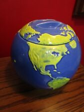 "1991 HEART AND HOME WORLD GLOBE COOKIE JAR 8 X 8"""