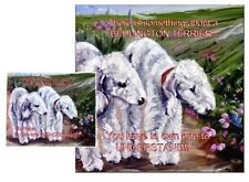 BEDLINGTON TERRIER HARDBOARD PLAQUE and LENS CLEANING CLOTH SANDRA COEN ARTIST