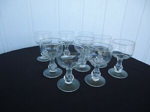 9 vintage art deco  hollow stem champagne glasses  bohemia crystal