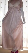 Gold silky nylon long lace bra full slip~nightie X~Large plus size  BNWOT