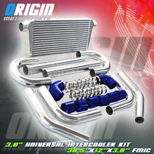 "30.5x12x3 FMIC 3.0"" TURBO INTERCOOLER +Aluminum PIPING KIT +Blue SILICONE HOSES"