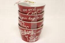 222 FIFTH CHRISTMAS TUNES HOLIDAY APPETIZER DESSERT BOWLS(s) RED/WHITE - S/4