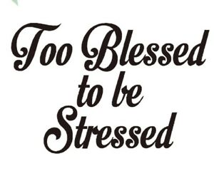 Too Blessed to be stressed car decal sticker motorcycle RV laptop