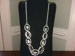 Majorica Baroque Pearl Necklace Silver Plated Double Oval Hammered Link Peanut