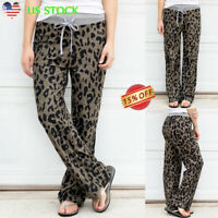 Women's Ladies Leopard Wide Leg Trousers Drawstring Slacks Jogging Casual Pants