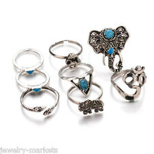 Bohemian Vintage Women Lady Silver Snake Elephant Turquoise Punk Finger Rings