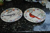 AMERICAN ATELIER Morning Song 5071 S/2 SALAD PLATE  Cardinal Chickadee AMAZING!!