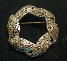 Vintage Filigree Dimensional Silver Tone Round Brooch