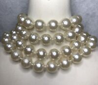 Vintage Faux Pearl Necklace Fixed Bead 1980s Lightweight Chunky Retro Beaded Old