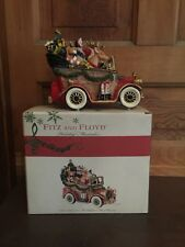 Fitz and Floyd Santas Classic Car Music Box Plays We Wish You A Merry Christmas