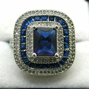 Vintage Very Large Stylish Silver Blue And white Stone Dress Cluster Ring Size Q