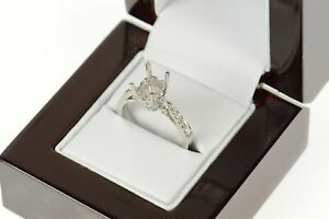 18K Oval Cut 0.18 Ctw Diamond Engagement Setting Ring Size 6.75 White Gold *65