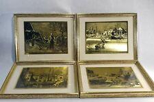 Vintage Lionel Barrymore Gold Foil Etching Framed Boat Nautical 4 Picture Set