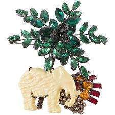 Lawrence Vrba Rhinestone Palm Tree & Elephant w/ Sun Statement Brooch Pin