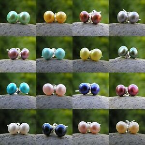 7-8mm Coloured Freshwater Pearl Stud Earrings - 925 SOLID Sterling Silver