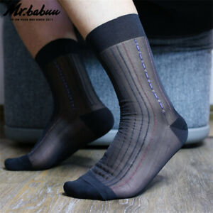 3Pairs Pack Men's Old Fashion Striped Black Summer Nylon Suit Casual Sheer Socks