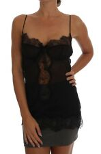 NEW $880 DOLCE & GABBANA Chemise Lingerie Top Black Silk Lace Babydoll IT4 /US L