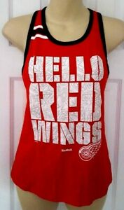 Detroit Red Wings Girl T Shirt Medium 10/12 Reebok Tank Top Silver Sparkle Logo