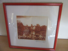 Vintage Framed Signed Etching Engraving of Fontainebleau Palace by Tegal