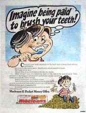 1984 MACLEANS Toothpaste 'Pocket-money Offer' Print Advert - Vintage Comic Ad