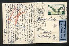 SWITZERLAND 1934 40c Airmail (C14) tied on postcard to AUSTRIA, ski jump scene
