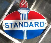 STANDARD GASOLINE OIL DEALER'S WALL MOUNTED PLAQUE SIGN Cast Iron w Torch 10""