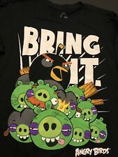 """Official Angry Birds T-Shirt Men Size Large New Black """"Bring It"""""""