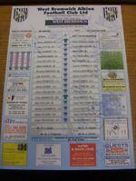 19/08/2000 Autographed Colour Teamsheet: West Bromwich Albion v Bolton Wanderers