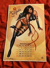 PSYLOCKE~UNCANNY X-MEN~SEXY CALENDAR PIN UP GIRL~ART PRINT~SIGNED NATHAN SZERDY