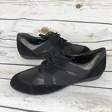 Sesto Meucci Oxfords Shoes Women's Size 7 M Black Suede Lace Up Italy
