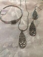 Silver Daisy Necklace, Earrings & Bracelet Lia Sophia Set Lot Of 3