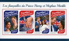 Central Afr Rep 2017 MNH Prince Harry & Meghan Engagement 4v M/S Royalty Stamps